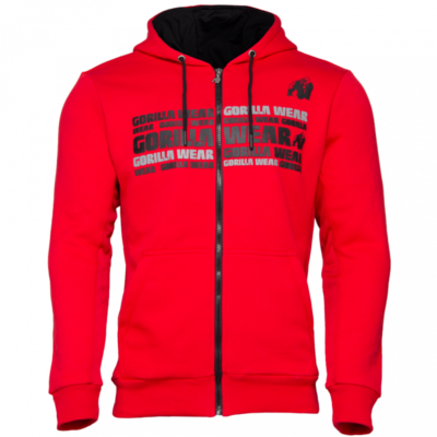 BOWIE MESH ZIPPED HOODIE – RED